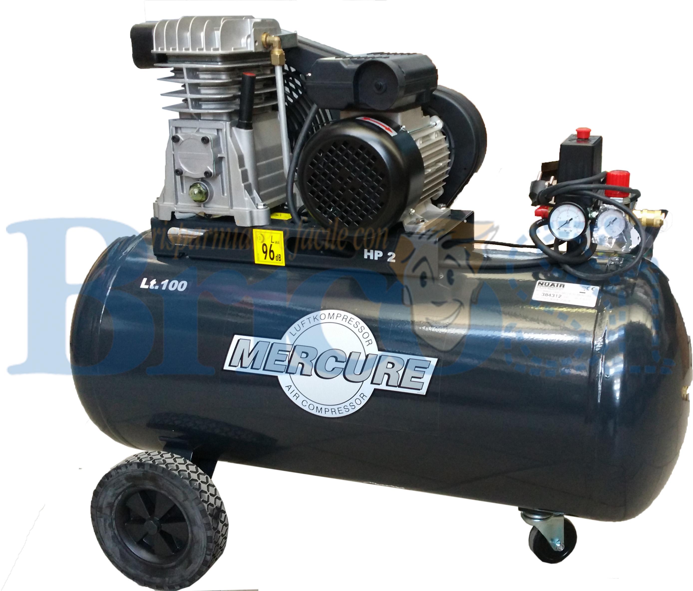 COMPRESSORE ARIA A CINGHIA 1,5Kw LT 100 litri 2HP PROFESSIONALE MERCURE NU AIR