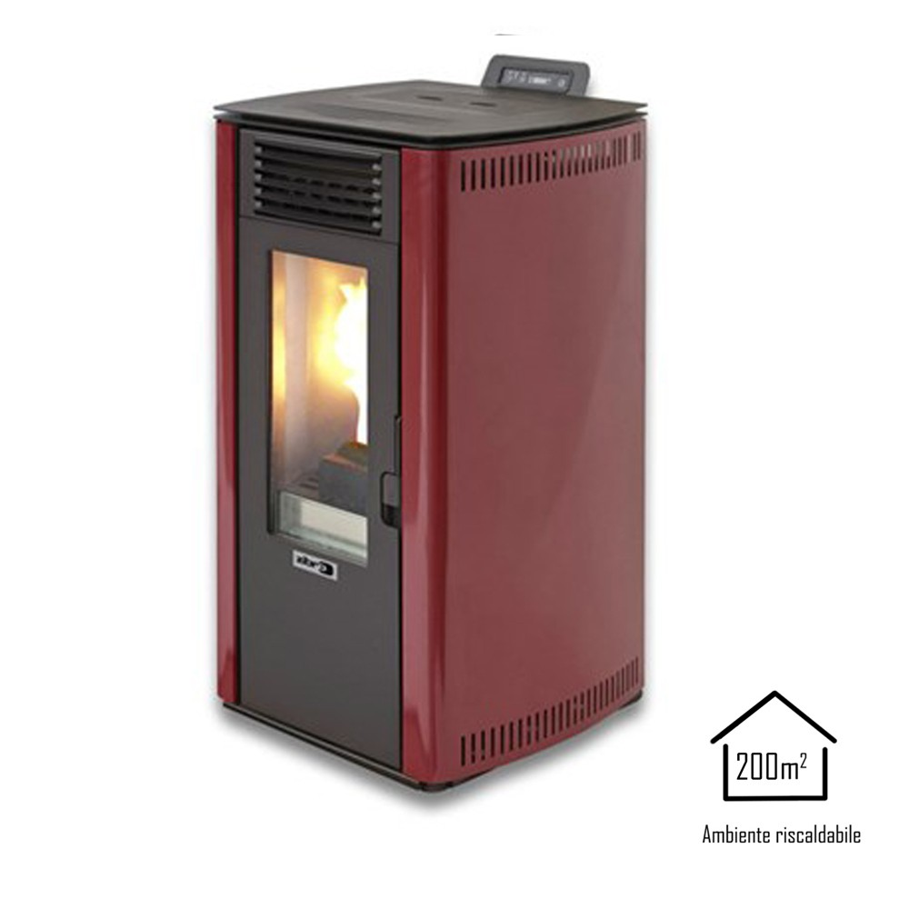 Qlima stufa a pellet 7,45kW rossa riscaldamento ambienti casa Fiorina 74S-LINE