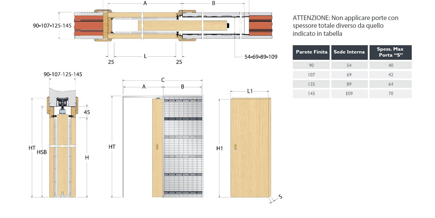 Controtelaio per porte a scomparsa scrigno singolo - Misure porta scorrevole ...