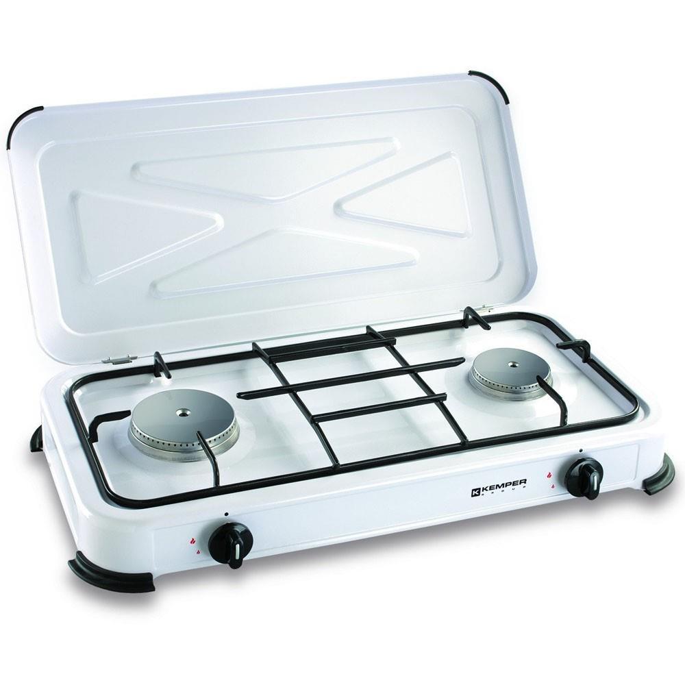 fornello kemper 2 fuochi a gas 24 kw per campeggio cucina camper acciaio