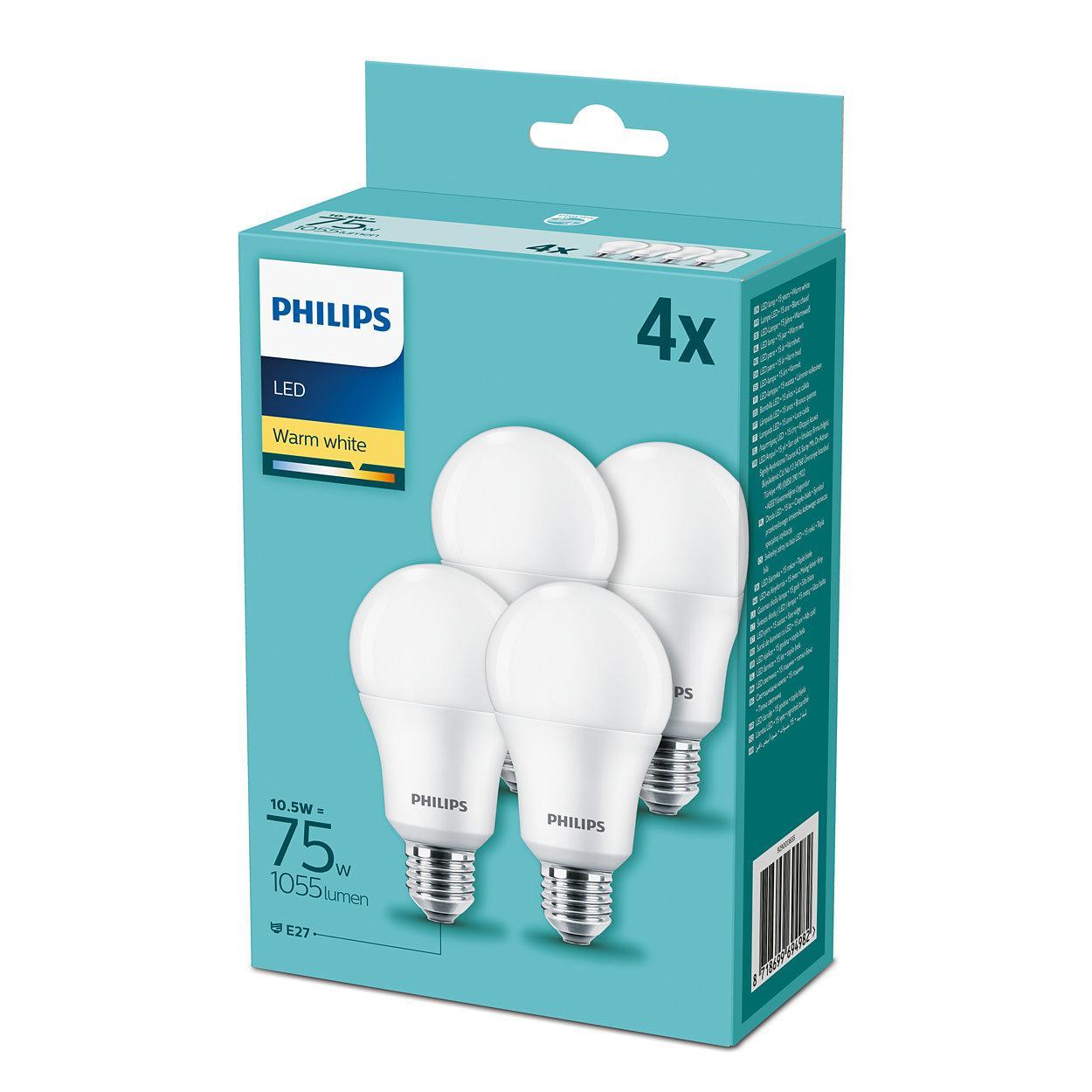 Kit 4 Lampadine Led Philips 10w - 75w E27 Luce bianca calda 2700°K