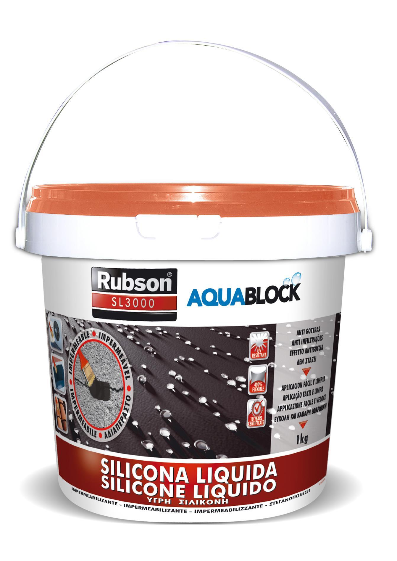 Rubson Silicone liquido 1kg Terracotta impermeabilizza protezione tetti Aquablock