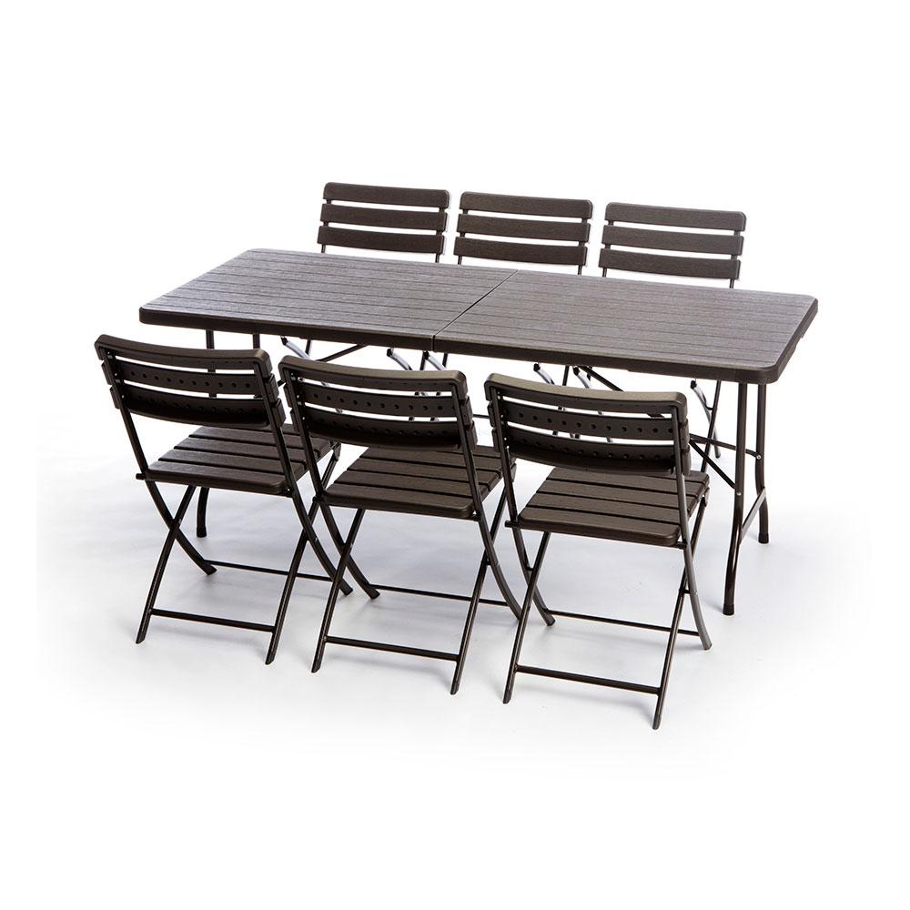 Tavoli In Resina Pieghevoli.Set Birreria Tavolo 6 Sedie Pieghevole Resina E Metallo 180x75