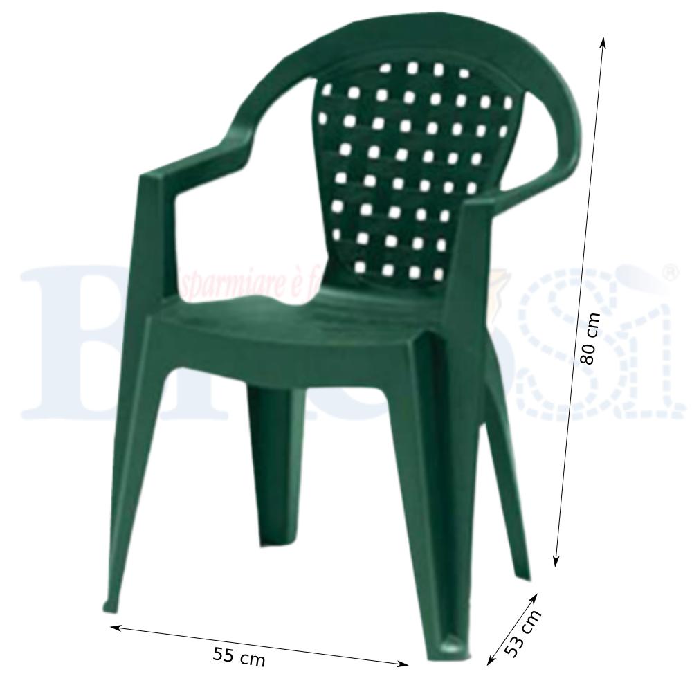 Sedie In Polipropilene Da Giardino.Sedia Poltrona Da Giardino Esterno Con Braccioli In Plastica