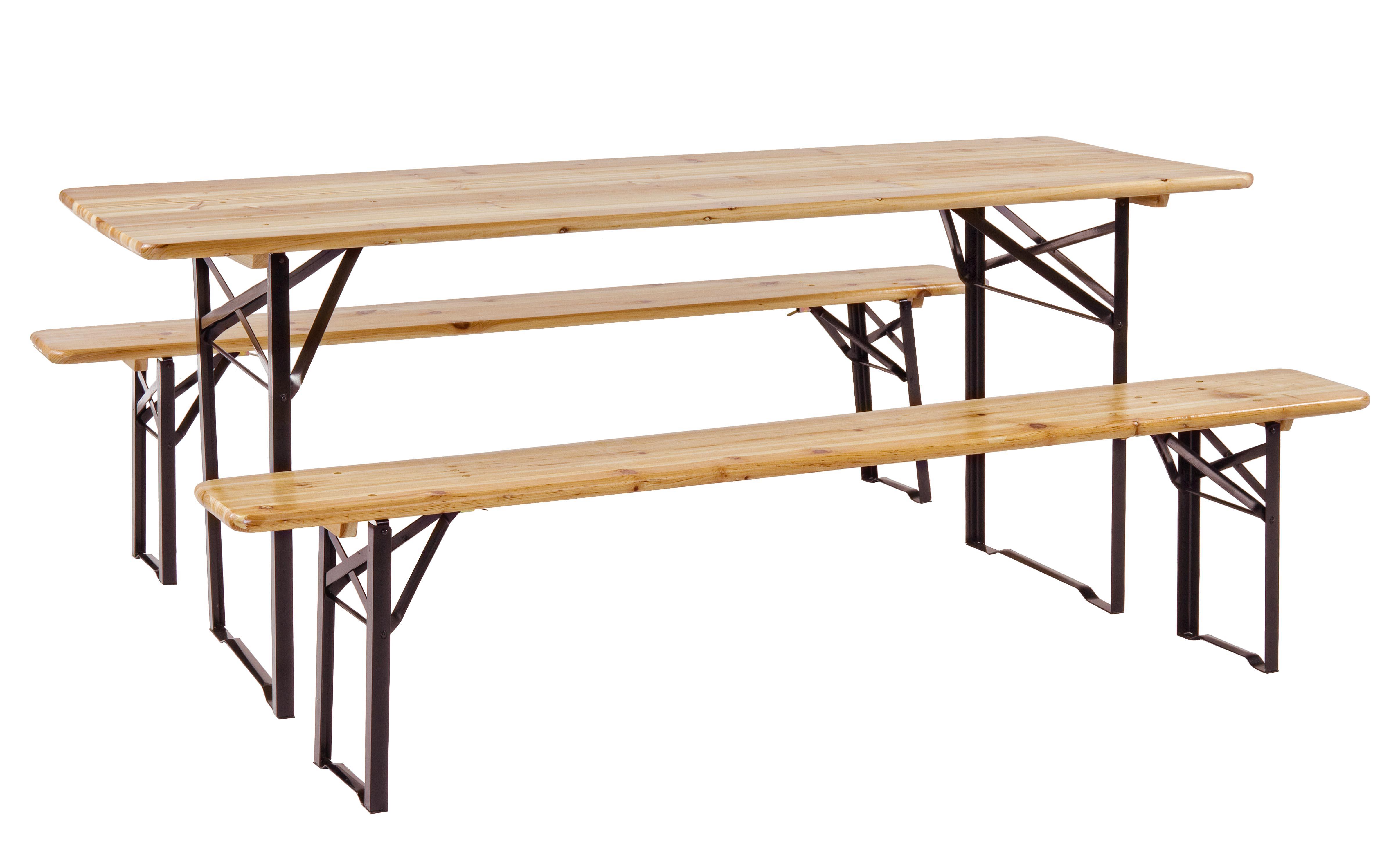 Tavolo Da Esterno In Legno Pieghevole.Set Tavolo Birreria 180x60 Cm Pieghevole Da Esterno Giardino Legno
