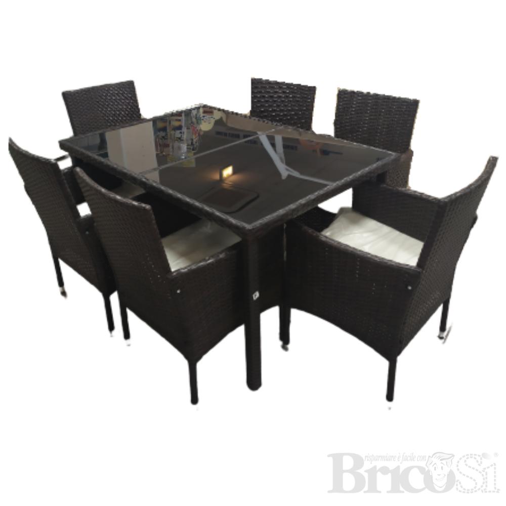 Set Tavolo E 6 Sedie Da Pranzo Piano In Vetro Effetto Rattan Marrone Giardino Ebay