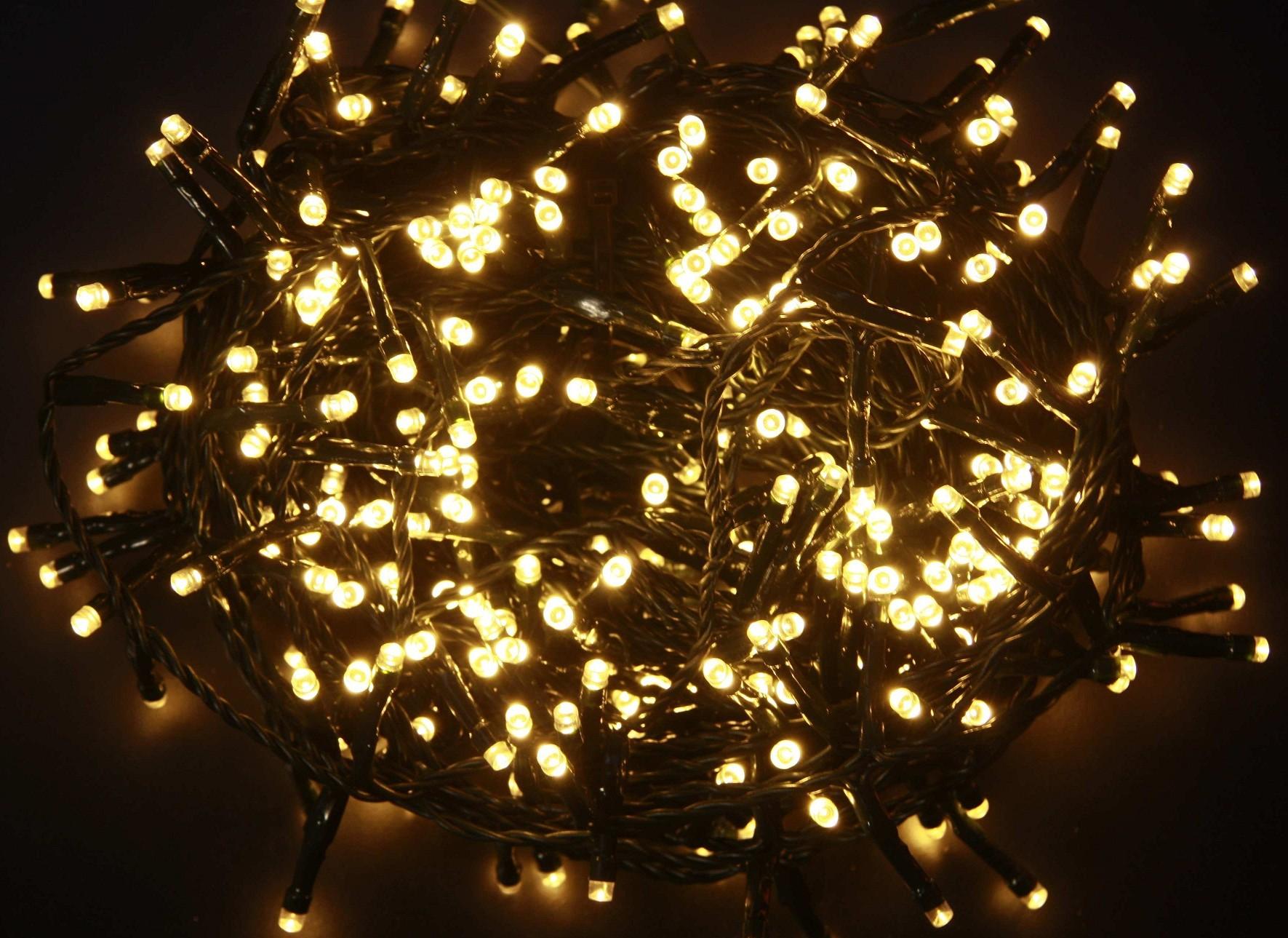 Luci luce albero di natale 200 led interno esterno led bianco caldo