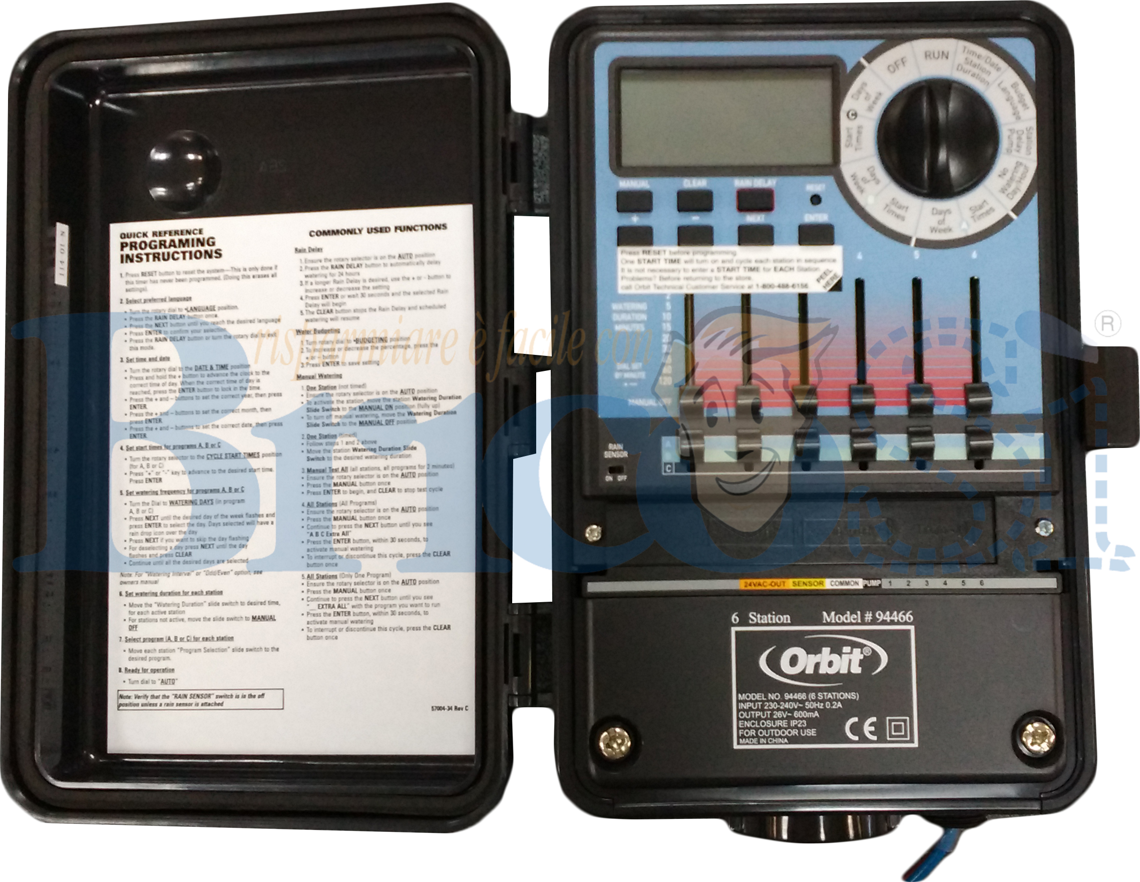 Orbit programmatore centralina irrigazione 6 stazioni for Irrigazione giardino