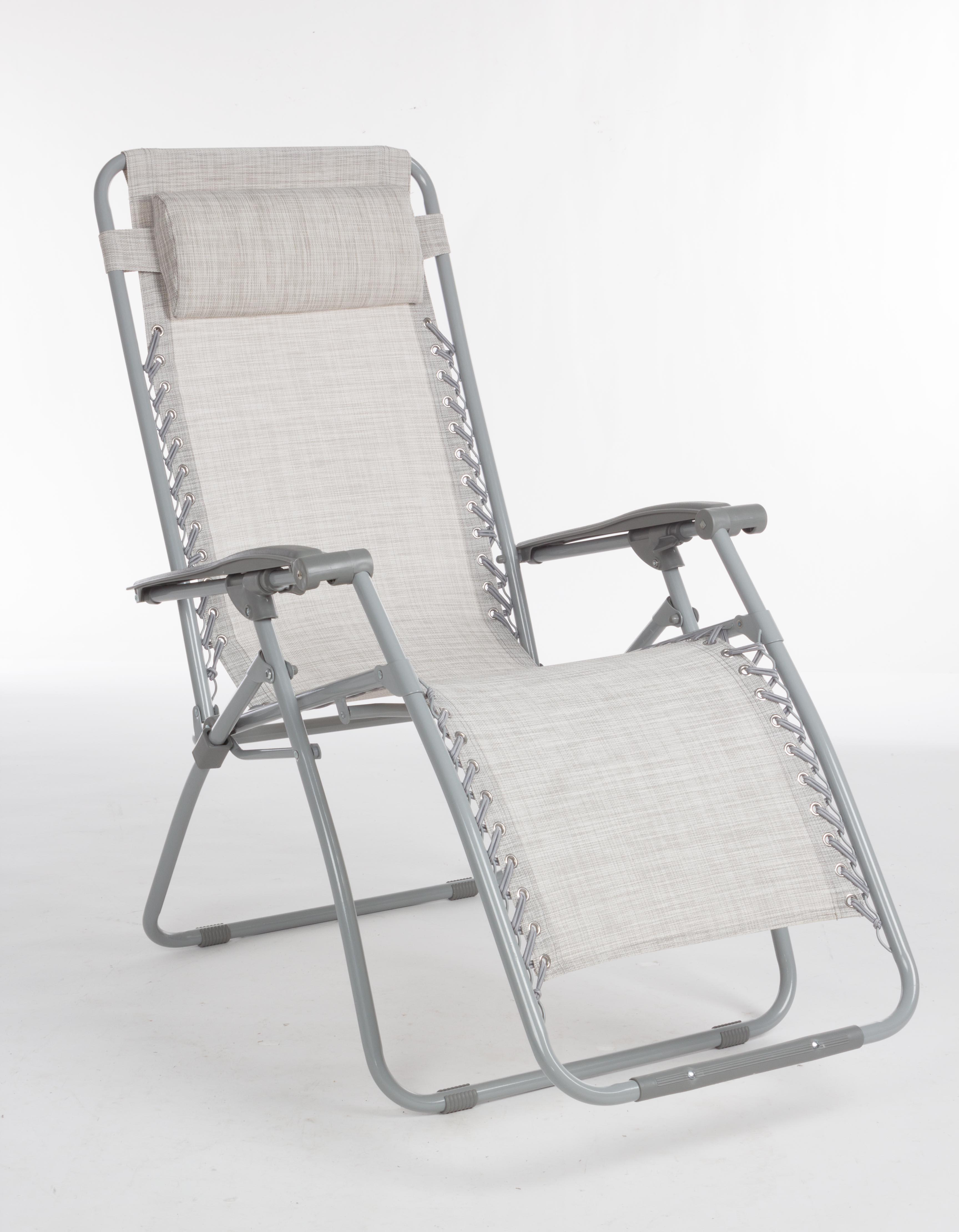 Poltrona sedia sdraio textilene pieghevole grigia firenze for Sedia sdraio