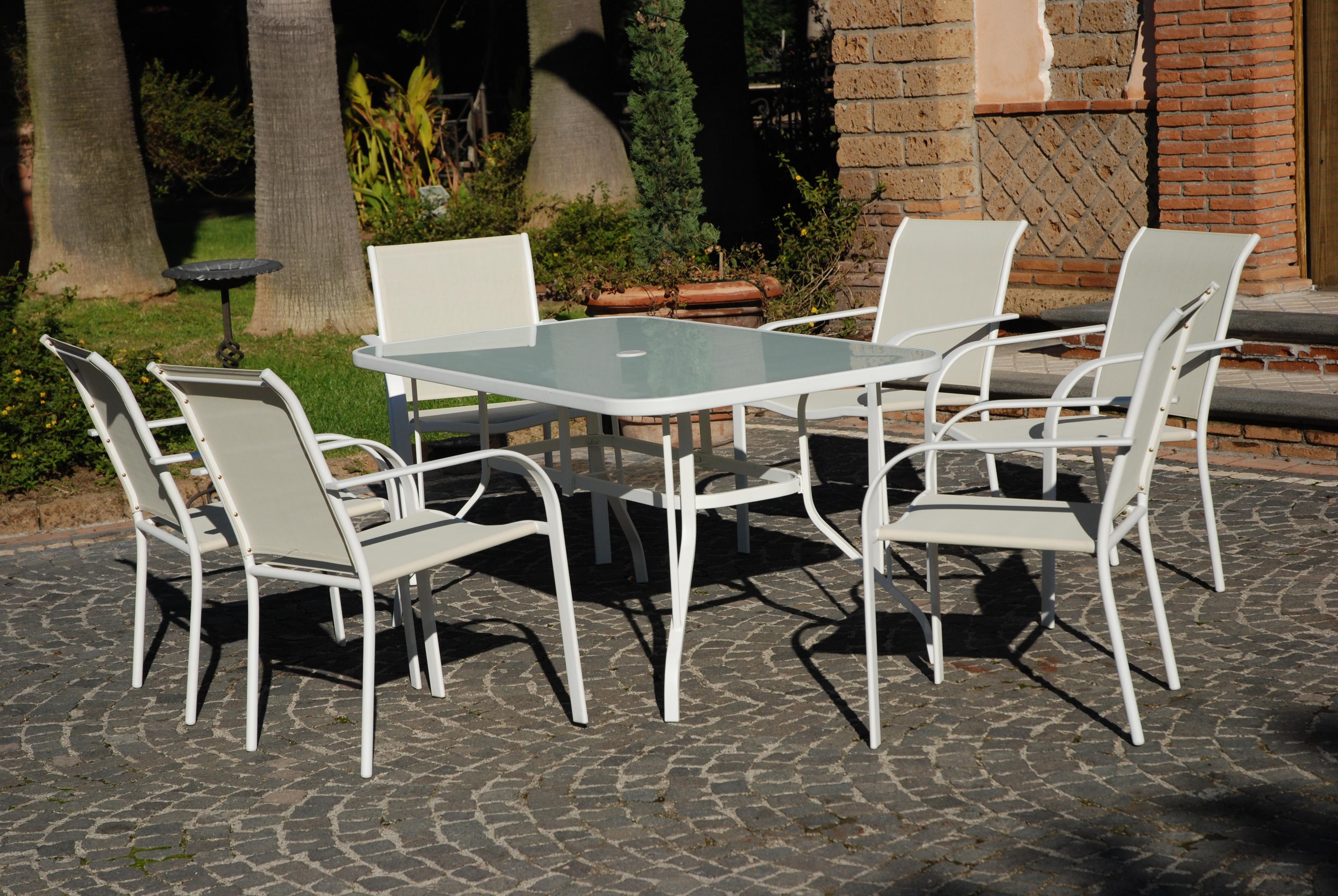 Sedie Per Tavolo In Vetro.Set Completo Tavolo Vetro 6 Poltrone Sedie Da Giardino Salmar Dune