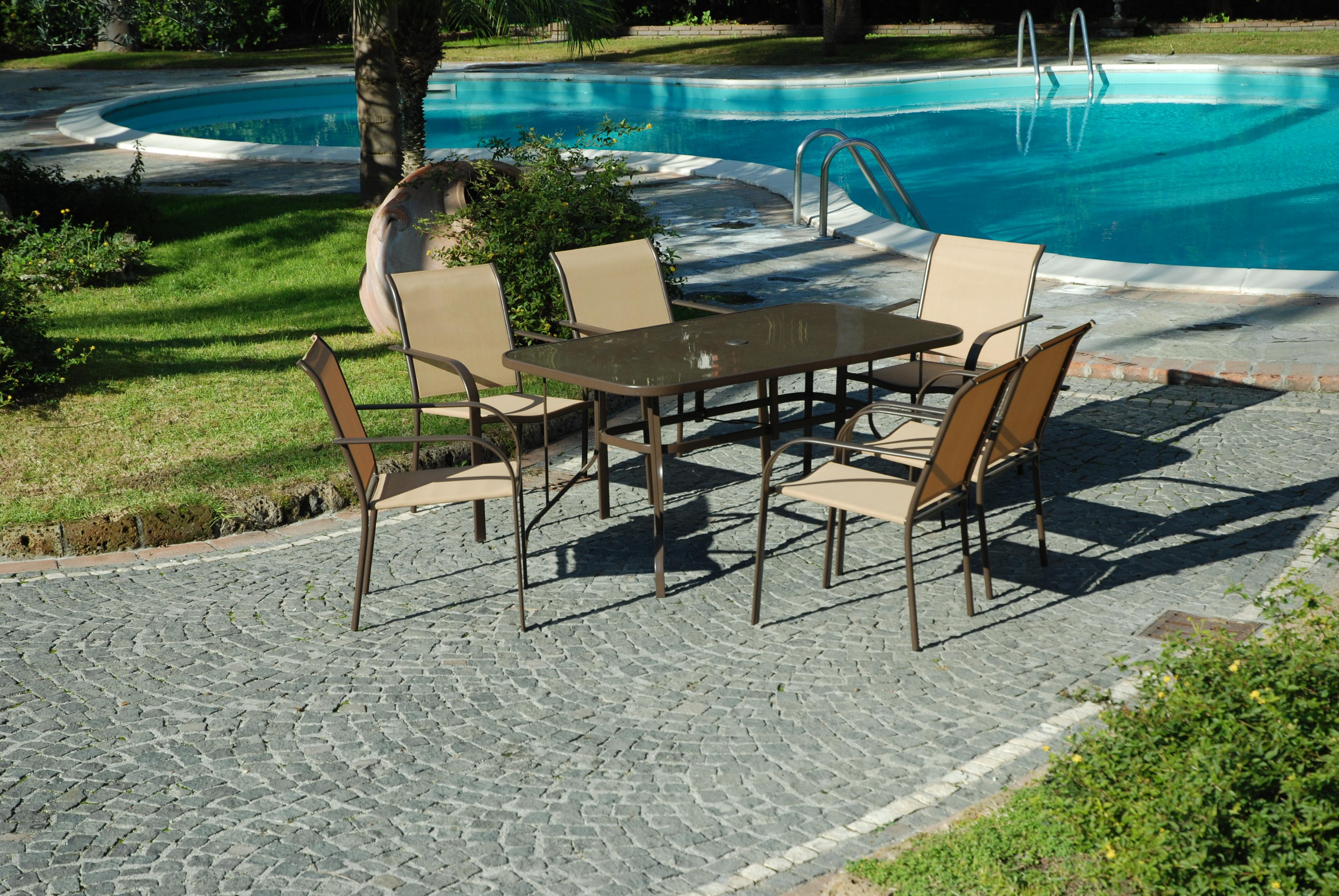 Set completo tavolo vetro 6 poltrone sedie da giardino salmar dune ecru 39 ebay - Poltrone da giardino amazon ...