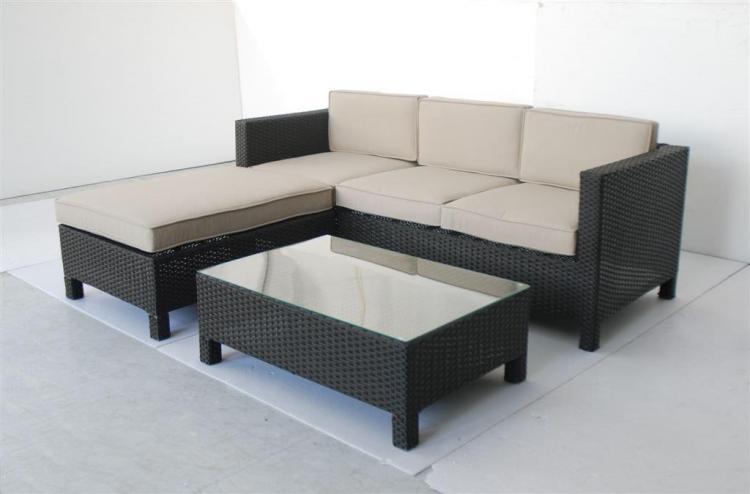 Salotto giardino malaga divano 3 posti tavolino pouff caffe