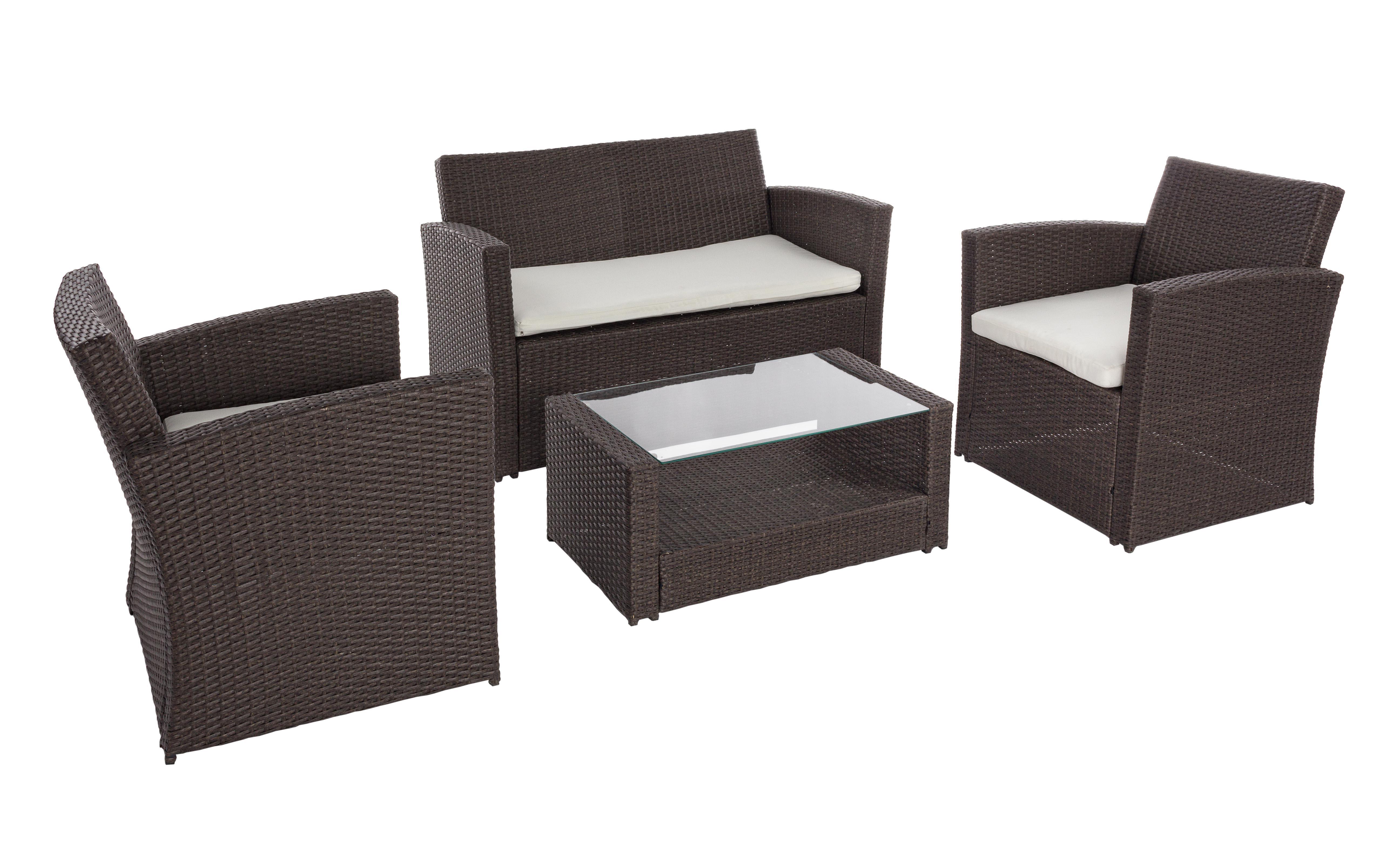Salotto giardino esterno set 4 pz con tavolino divanetto for Salotto da terrazzo