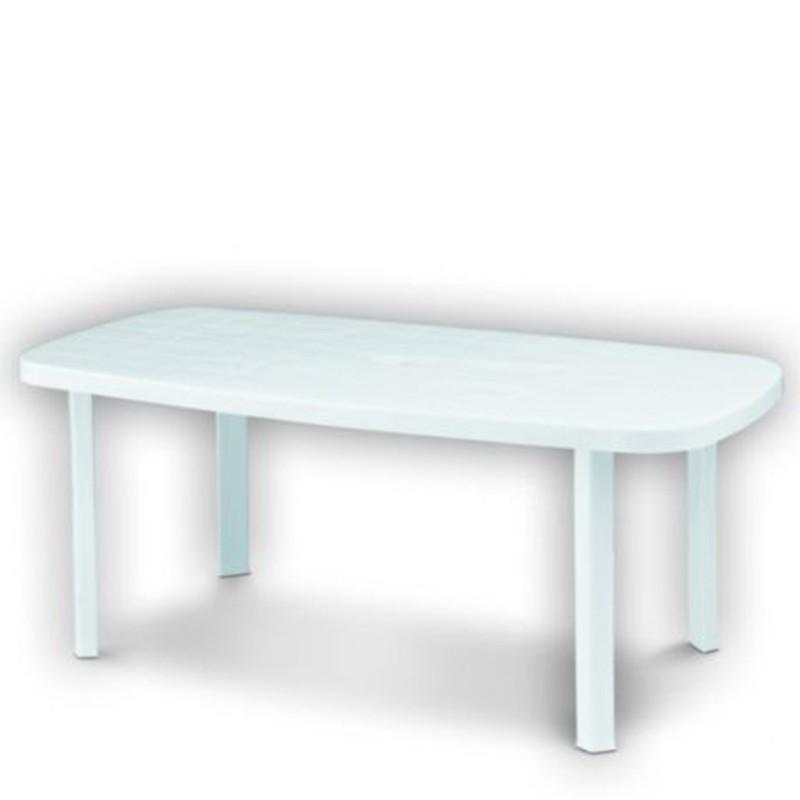 Tavolo in plastica da giardino 180x90 colore bianco - Tavolo da giardino in plastica ...