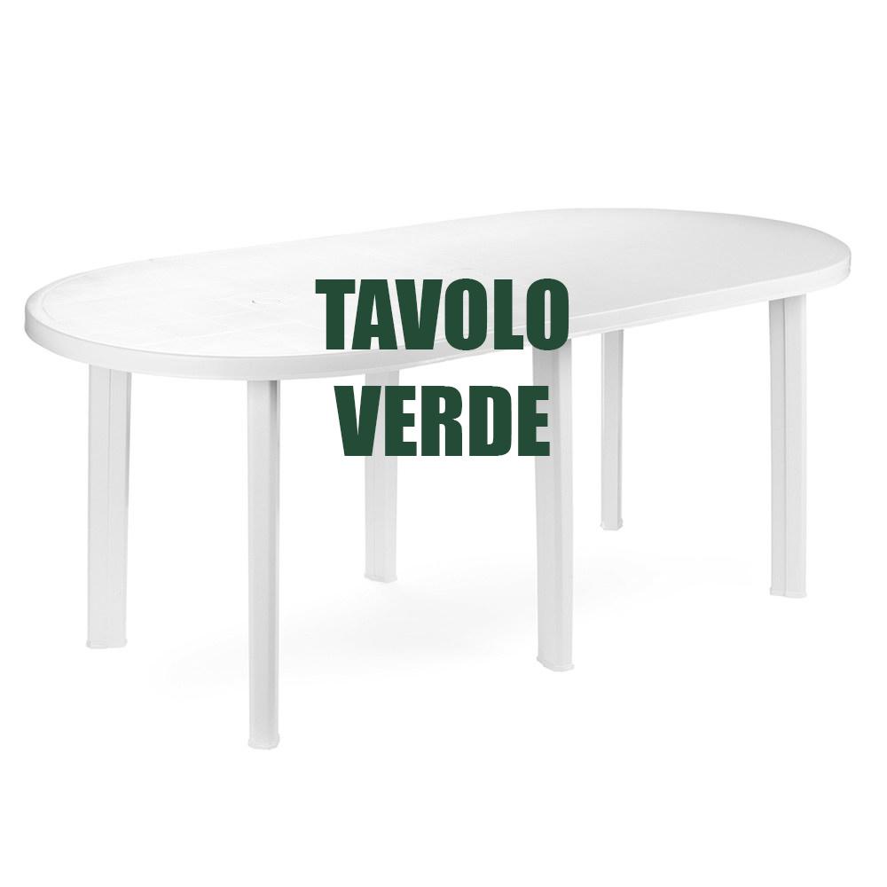 Tavolo In Plastica Giardino.Tavolo Plastica Giardino Esterno 180x90 H72 Ovale 6 Gambe Verde