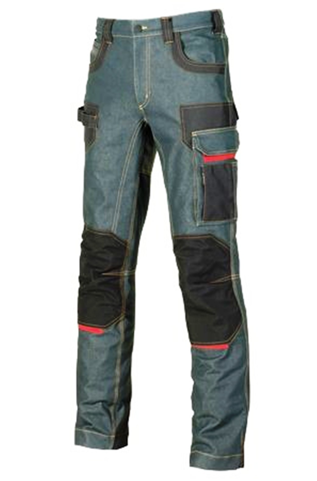 Upower Pantalone da lavoro tessuto Jeans 330gr m2 Multitasca Platinum Button d2424b8d56c