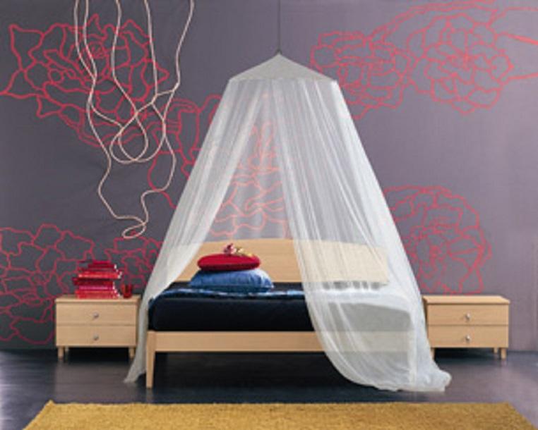 Zanzariera a baldacchino per letto matrimoniale tenda bianca per ...