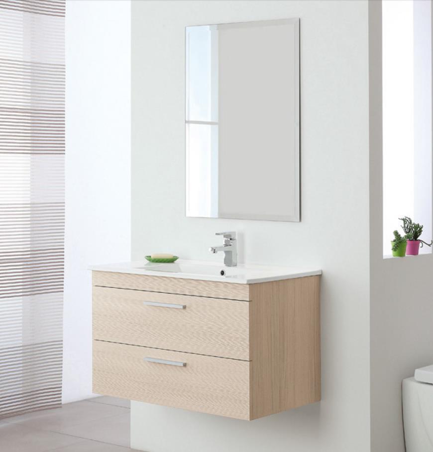 Mobile mobiletto bagno sospeso composizione lavello ceramica specchio stella ebay - Mobiletto bagno ...