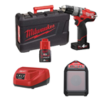 MILWAUKEE M12 SET2I TRAPANO AVVITATORE 12V + SPEAKER BLUETOOT 2 BATTERIE 2AH 4AH